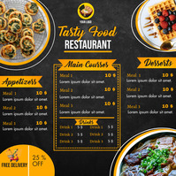 Order food online/ Restaurant menu Instagram Post template