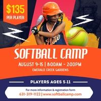 Organge Kids Softball Camp Instagram Post Tem template