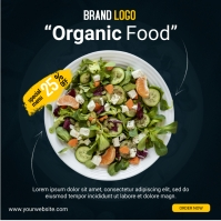 organic food social media post design โพสต์บน Instagram template