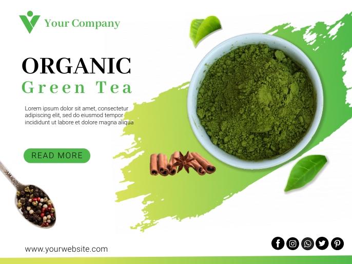 Organic Green Tea Flyer Tempate Præsentation template