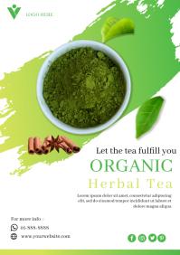 Organic herbal tea flyer template A4