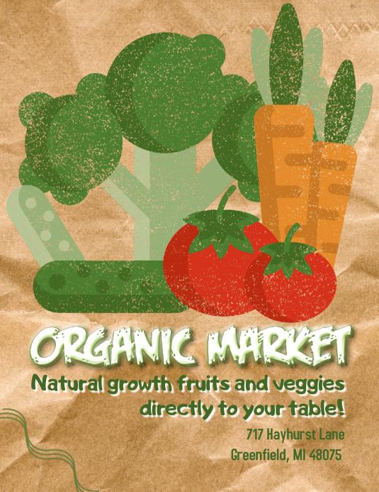 Organic Market Flyer Løbeseddel (US Letter) template
