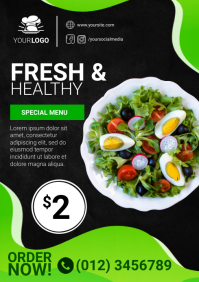 Organic Restaurant Vegetable Menu Ad Template A4