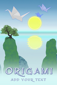 origami paper folding - asian landscape with origami cranes flying - japan - template