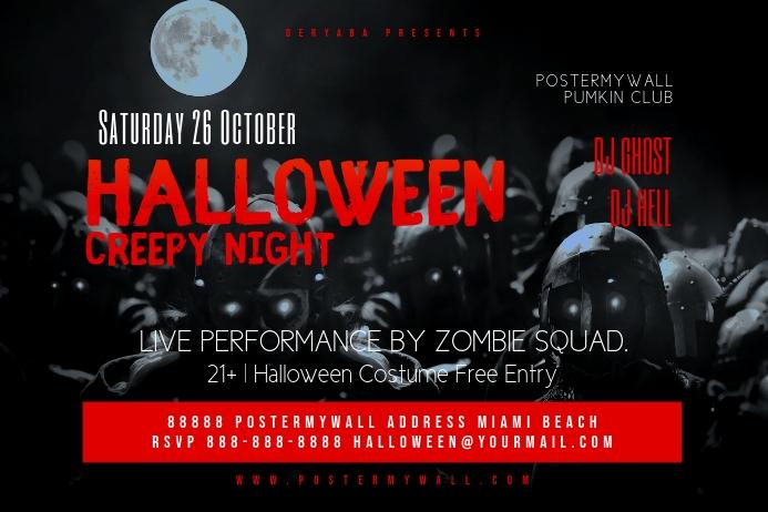 Original Halloween Party Flyer Template Étiquette