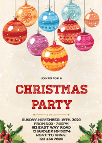 Ornament Christmas theme party invitation