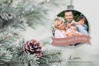 Ornament Holiday Photo Postcard Etichetta template