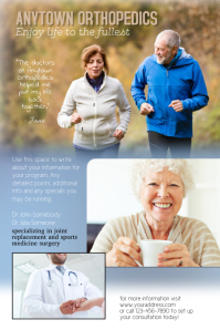 Orthopedic joint replacement flyer template