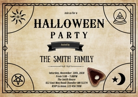 Ouija board theme invitation
