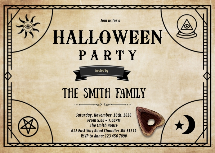 Ouija board theme invitation A6 template