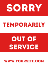 Out of service door sign printable A4 template