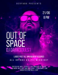 Out of Space Purple Party Flyer Template