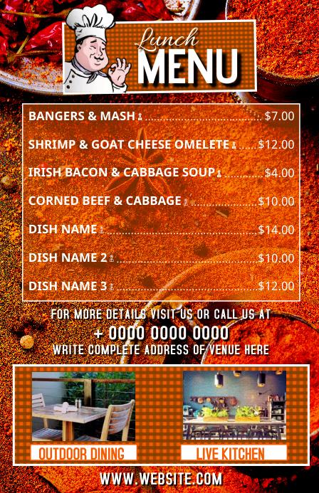 Outdoor Dining Restaurant Menu Flyer Template 小报