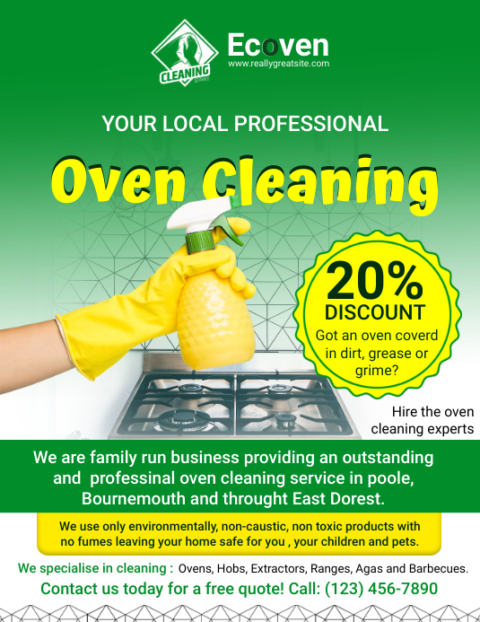 Oven and Kitchen Cleaning Service Advert Folder (US Letter) template