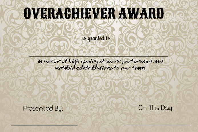 overachiever award template