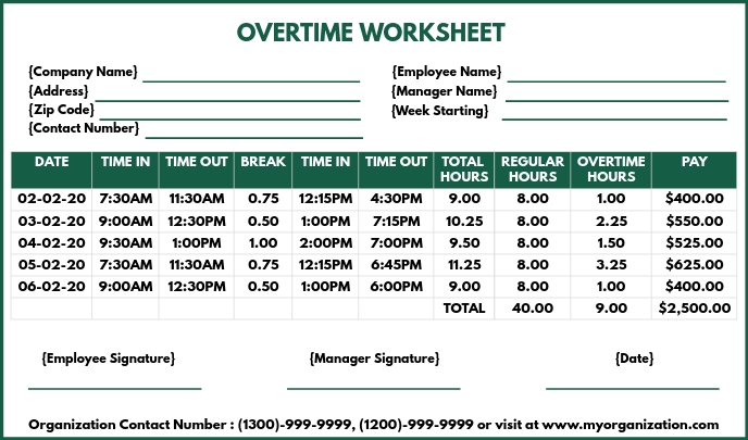 Overtime Worksheet Printable Template Tag