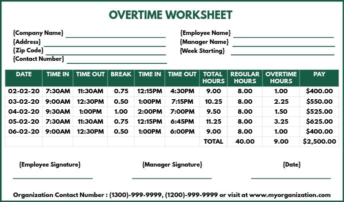 Overtime Worksheet Printable Template Etiqueta