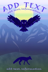 owl & fox at dawn wildlife poster template
