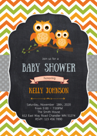 Owl baby shower party invitation