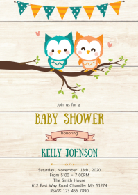 Owl twin baby shower invitation
