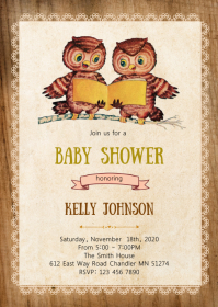 Owl Twin baby shower party invitation