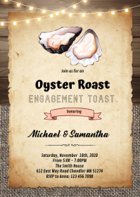 Oyster Roast and Toast invitation A6 template