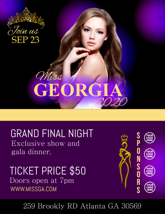 Pageant FLYER Pamflet (Letter AS) template