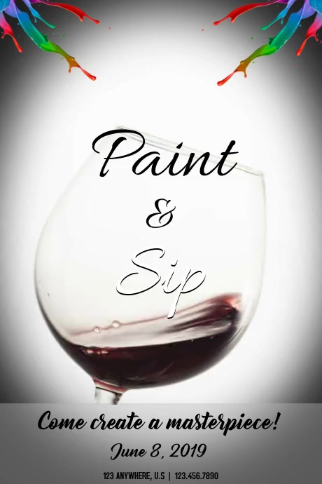 Paint and Sip Póster template