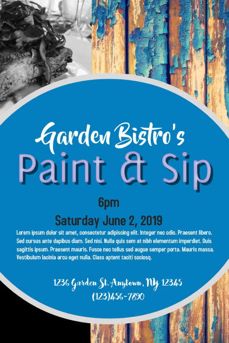 Paint and Sip Plakat template