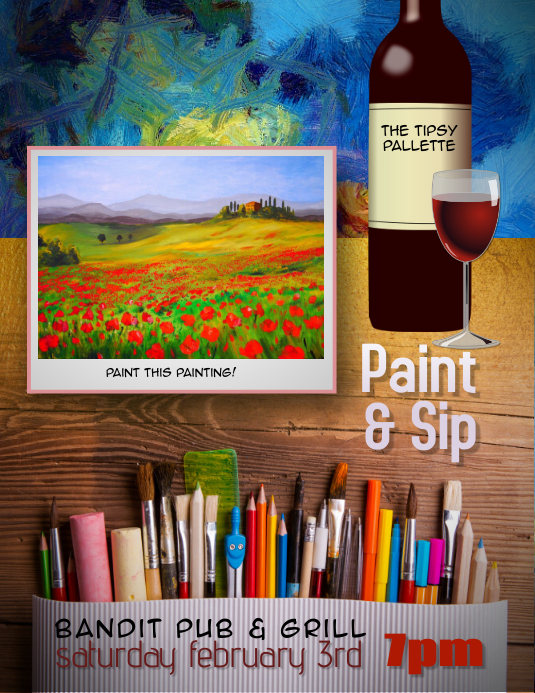Paint and Sip Event Flyer template