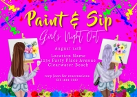 Paint and Sip Girls Night Out Party Postcard template