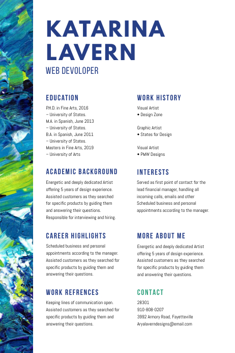 Paint Brush Strokes Custom Resume Template