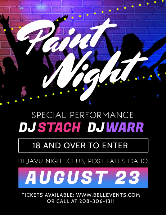 Paint Night at Club Party Flyer Template