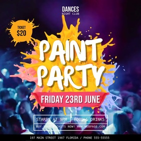 Paint Party Club Invitation Square Video template