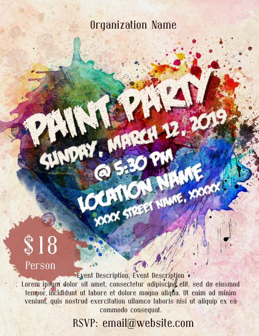 Paint Party Flyer (format US Letter) template
