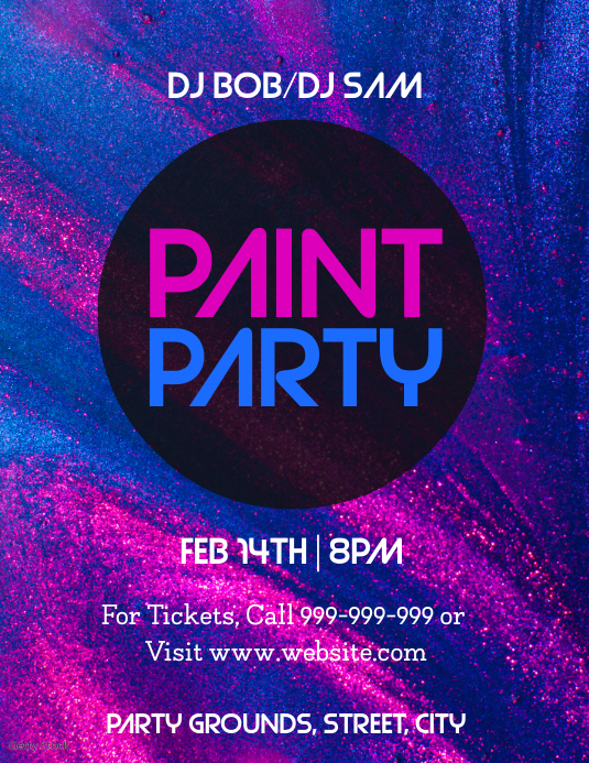 Paint Party Pamflet (VSA Brief) template