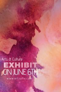 Paint Splash Watercolor Art Culture Exhibit Flyer Ad Campaign Simple Modern