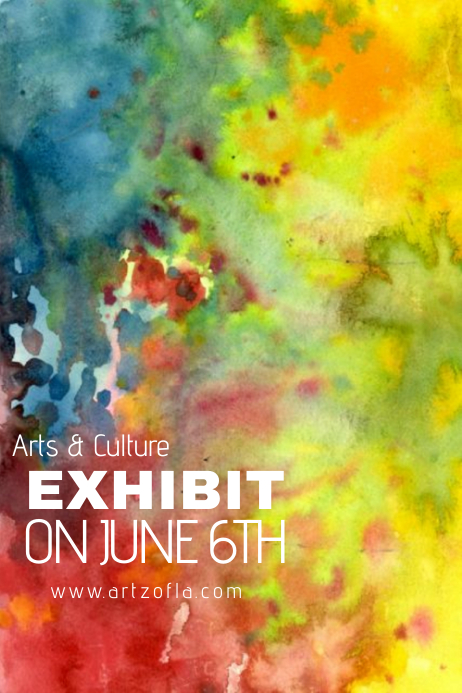 paint splash watercolor art culture exhibit flyer ad