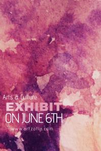 Paint Splash Watercolor Art Culture Exhibit Flyer Campaign Simple Vintage