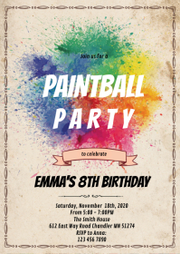 Paintball art party invitation A6 template
