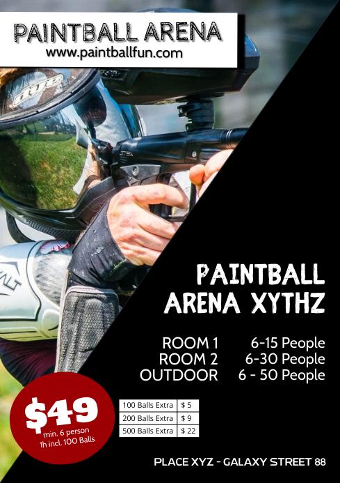 Paintball Farm Event Flyer Offer Poster Sport