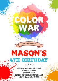 Painting color war birthday invitation A6 template