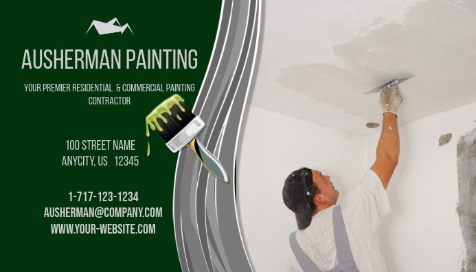 Painting contractor business card template postermywall painting contractor business card customize template friedricerecipe Image collections