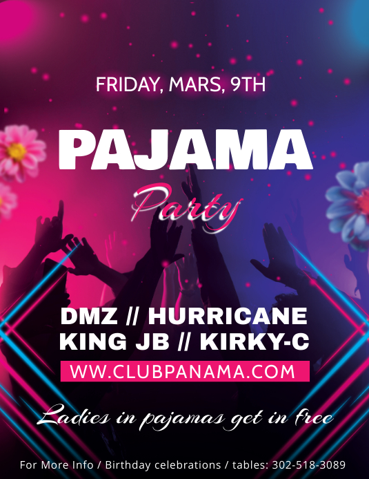 pajama party bar flyer template postermywall
