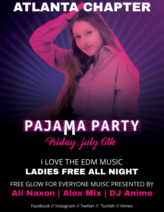 pajama party flyer template postermywall