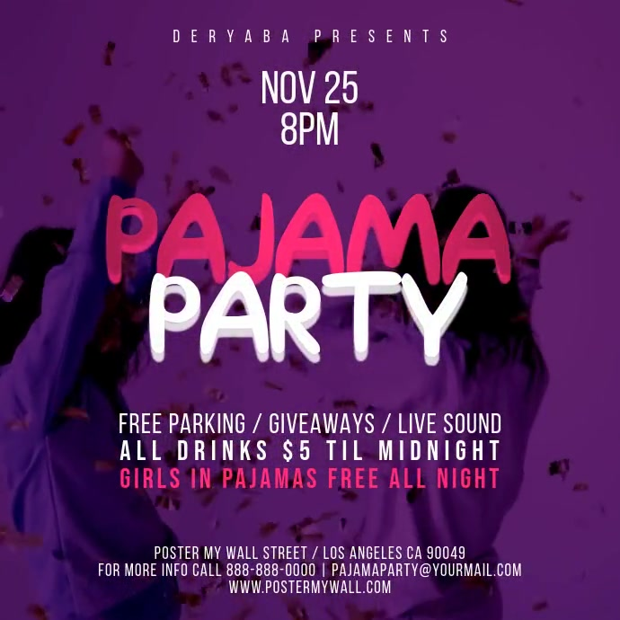 Pajama Party Video Square Banner Template Kvadrat (1:1)