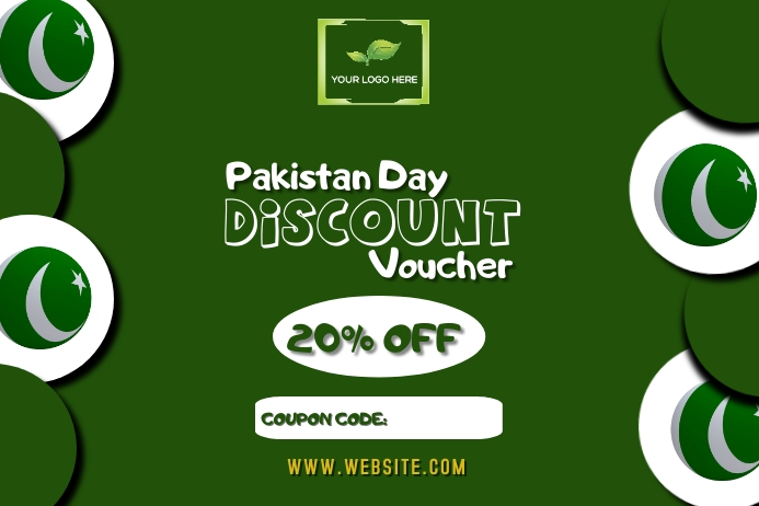 Pakistan Day discount voucher design customiz Tatak template