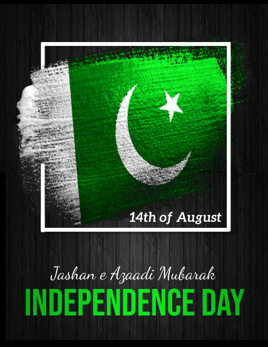 pakistan independence day, 14 august Pamflet (Letter AS) template