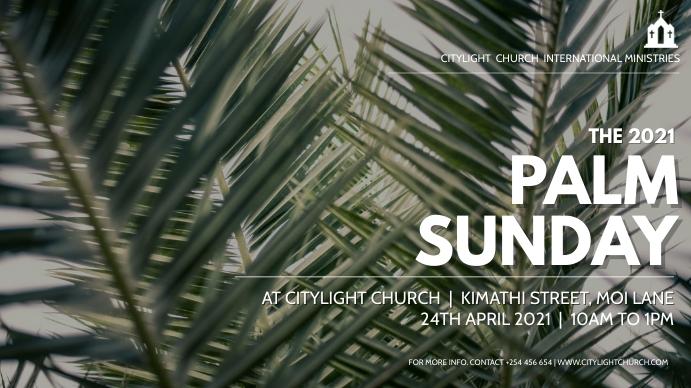 PALM SUNDAY church flyer Digital na Display (16:9) template