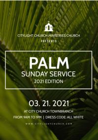 palm sunday church flyer A3 template